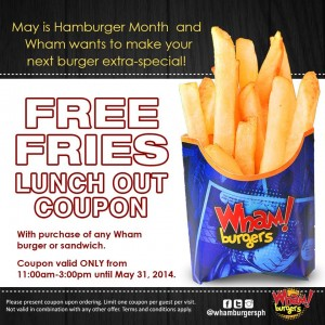Free coupon from Wham! Burgers