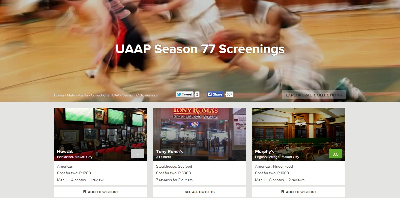 Zomato Collections unleashed list of restaurants for UAAP fan foodies