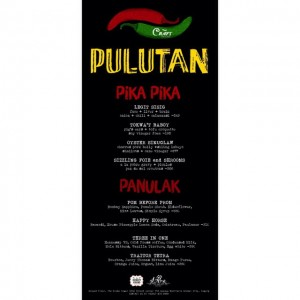 Craft Series Pulutan menu. Superb drinks and pika pika.